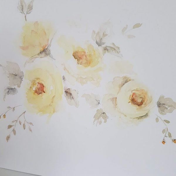 First Flush Lemon Roses Original signed watercolour card with envelope